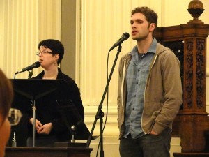 "Sanctuary Team leaders Dave Ruffin, Joanna Lubkin, and Mark Buckles (on piano, not seen in this picture) lead the community in Sarah Dan Jones' ""Meditation on Breathing"""